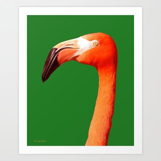 Pushy Flamingo Art Print