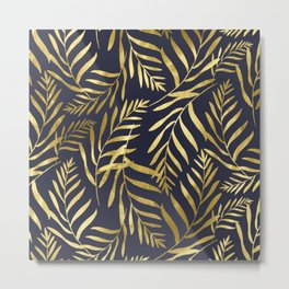 Gold Leaves on Navy Metal Print