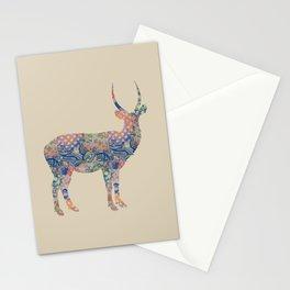 Antelope Vintage Floral Pattern Blue Orange Green Taupe Beige Rustic Shabby Stationery Cards