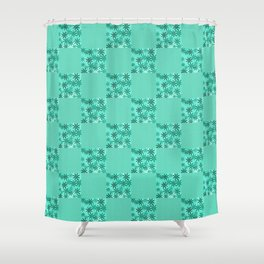 JUBILEE bright green modern floral quilt pattern Shower Curtain