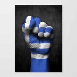 Greek Flag on a Raised Clenched Fist Canvas Print