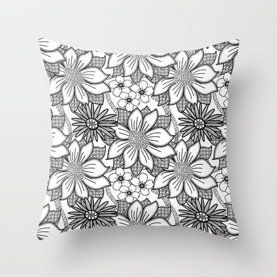 Black and White Floral Drawing Throw Pillow