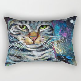 Galactic Cat In Space Painting by Robert Phelps Rectangular Pillow