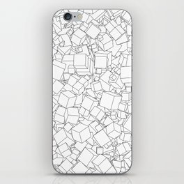 Cubic B&W / Lineart texture of 3D cubes iPhone Skin