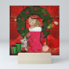 Christmas, funny kitten Mini Art Print