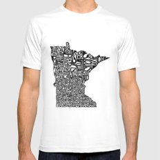 Typographic Minnesota White MEDIUM Mens Fitted Tee
