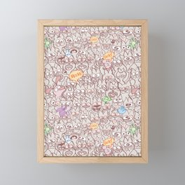 Seamless pattern world crowded with funny cats Framed Mini Art Print