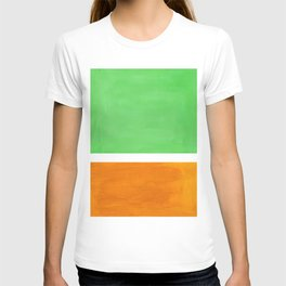Pastel Mint Green Yellow Ochre Rothko Minimalist Mid Century Abstract Color Field Squares T-shirt