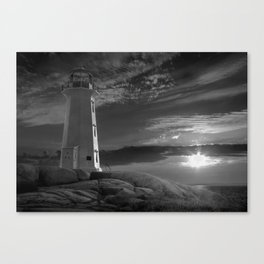 Black and White Sunset at Peggys' Cove Lighthouse in Nova Scotia Canvas Print
