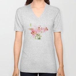 Flower lights in pink and white Unisex V-Neck