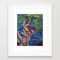 german shepherd Framed Art Prints featuring German Shepherd by Elizabeth Dillinger