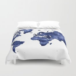 Map duvet covers society6 dark navy blue watercolor world map duvet cover gumiabroncs Gallery