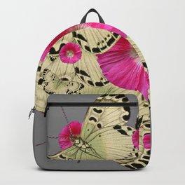 BLACK PATTERN BUTTERFLIES PINK HOLLYHOCKS ART Backpack