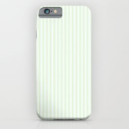Classic Small Spearmint Mint Pastel Green French Mattress Ticking Double Stripes iPhone Case