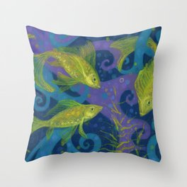 Golden Fishes, Blue &Yellow Throw Pillow