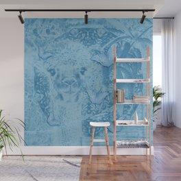 Ghostly alpaca with butterflies in snorkel blue Wall Mural