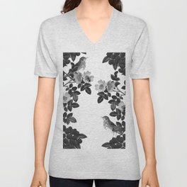 Birds and the Bees Black and White Unisex V-Neck