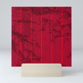 Grunge Blue stripes on bold red background Mini Art Print