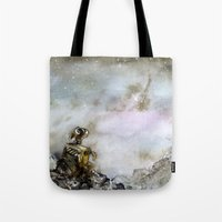 wall e Tote Bags featuring Wall-e by Louise Summers