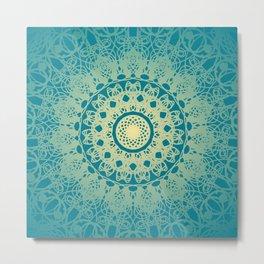 Mandala Flower Morrocan Blue and Cream Metal Print