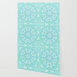 Sea Green Ombre, Indian Mandala Pattern Wallpaper