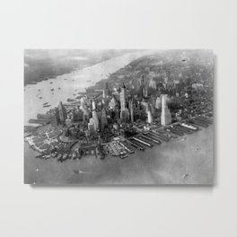 1931 Manhattan, Hudson River, and East River Skyline Aerial black and white photograph Metal Print
