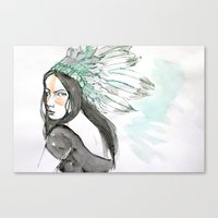 indian Canvas Prints featuring Indian by Robin Wang