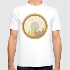 Moon & Mountains White MEDIUM Mens Fitted Tee