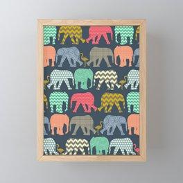 baby elephants and flamingos Framed Mini Art Print