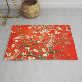 Red Almond Blossoms - Van Gogh (new color edit) Rug