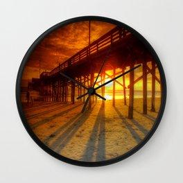 Sunset At The Pier Newport Beach California Wall Clock