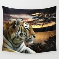 novelty Wall Tapestries featuring Sunset Tiger by Moody Muse