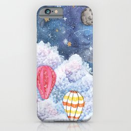 Rise Above | Night Sky Hot Air Balloon Illustration | Watercolor | Galaxy iPhone Case