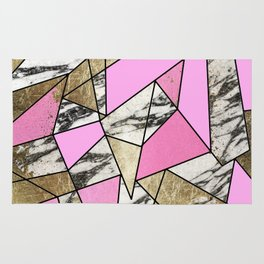 Girly Pink Geometric Gold and Modern Marble Rug