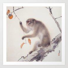 Monkey Vector After Hashimoto Kansetsu Art Print