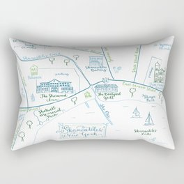 Skaneateles, New York Illustrated Calligraphy Print Rectangular Pillow