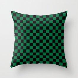 Black and Cadmium Green Checkerboard Throw Pillow