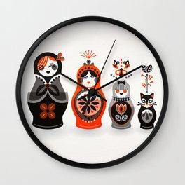 Russian Nesting Dolls – Red & Black Wall Clock