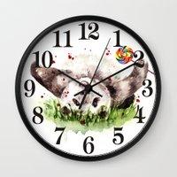 panda Wall Clocks featuring Panda by Anna Shell
