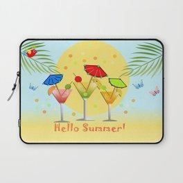 Hello Summer, vector illustration with text Laptop Sleeve