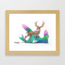 Fluorite Deer Framed Art Print