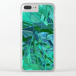 Blue Green Fractured Paint Swirls Clear iPhone Case
