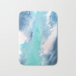 Blue Fluid Painting Waves Fluid Acrylic Abstract Bath Mat