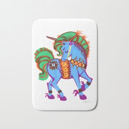 Blue Data Unicorn Magical horse Bath Mat