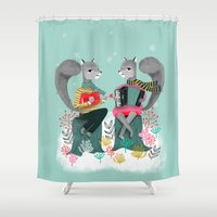 banjo Shower Curtains featuring Squirrels' Christmas by Andrea Lauren  by Andrea Lauren Design