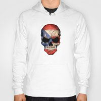 puerto rico Hoodies featuring Dark Skull with Flag of Puerto Rico by Jeff Bartels