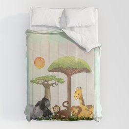 Watercolor Safari Animals Under Exotic Baobab Tree Comforters