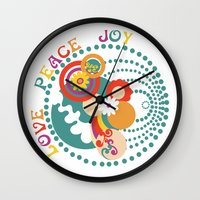 70s Wall Clocks featuring 70s Circle  by Louise Machado