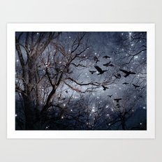 Woodland Crows And Bursting Stars Art Print