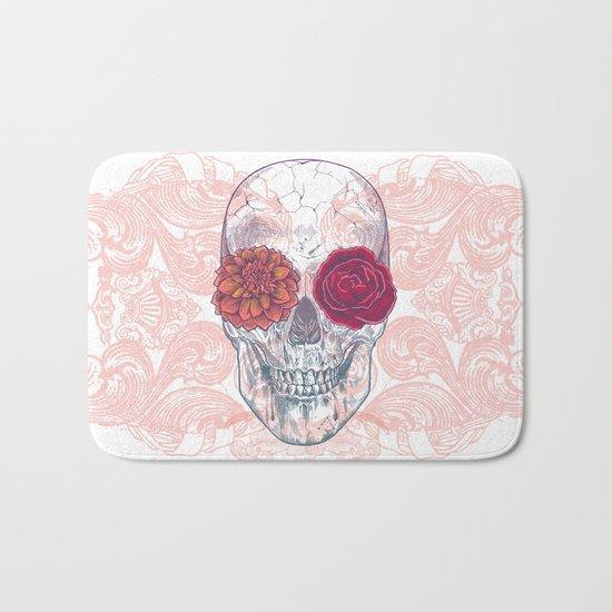 Double Flowers Skull Bath Mat